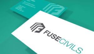 Image of Fuse Civils business card front and back